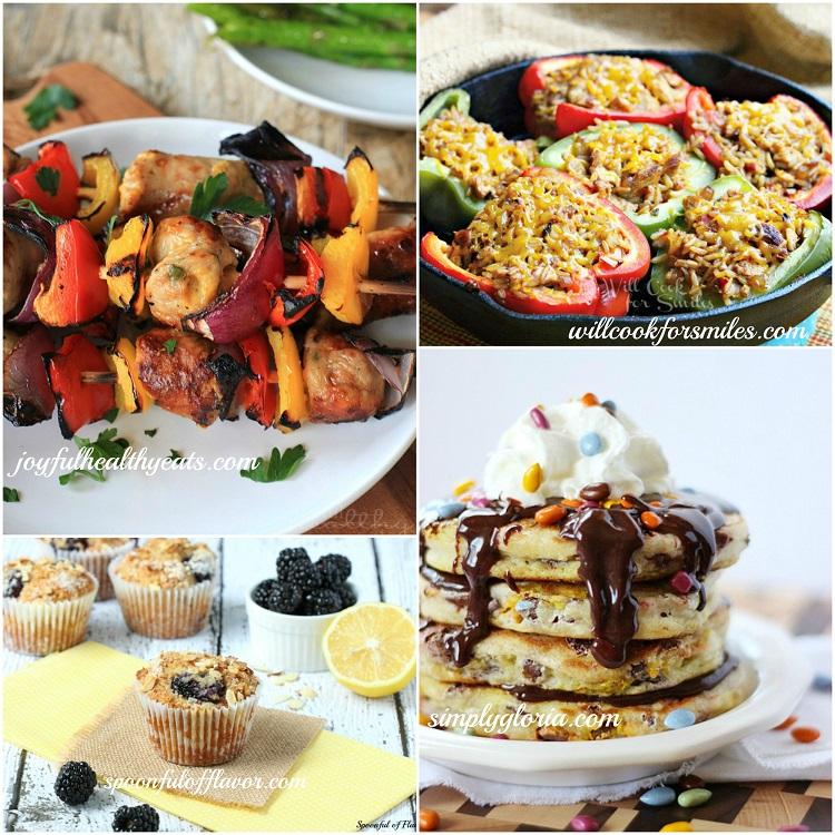 Host FeaturesSunbursts Pancakes with Chocolate Ganache, Grilled Chicken Sausage, Pepper, & Onion Kabob, Blackberry Muffins, Chicken Fajita Stuffed Peppers