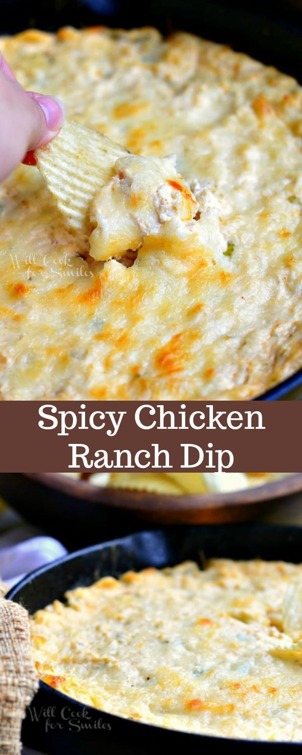 This Spicy Chicken Ranch Dip recipe is baked in a skillet and packed with juicy chicken, cheese, green onions, cream cheeses, and Hidden Valley Spicy Ranch mix.  #dip #chickendip #ranch #ranchdip #spicydip