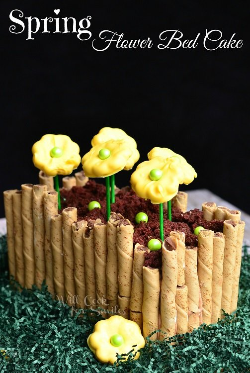 Spring Flower Bed Cake from willcookforsmiles.com #cake #spring