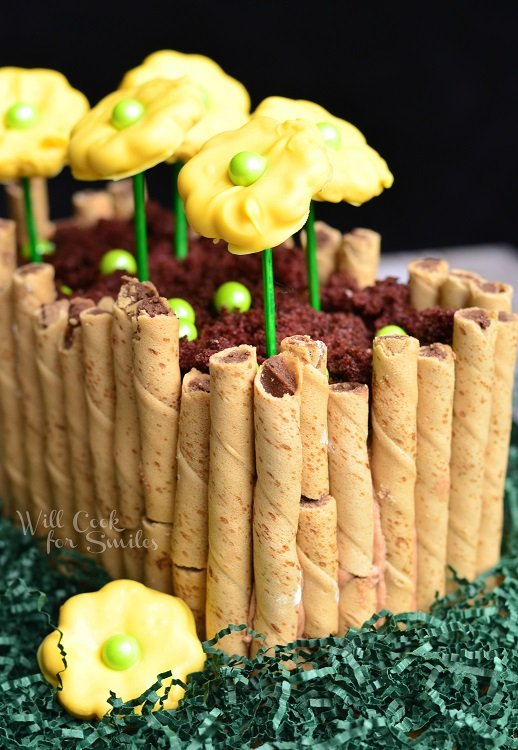 Spring Flower Bed Cake  from willcookforsmiles.com #cake #springcake