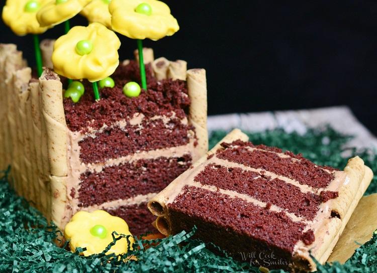 Spring Flower Bed Cake  from willcookforsmiles.com #springcake # cake