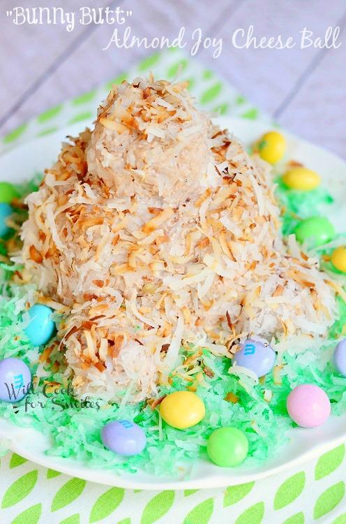 Bunny Butt Almond Joy Cheeseball |  from willcookforsmiles.com #easterbunny #cheeseball #almondjoy