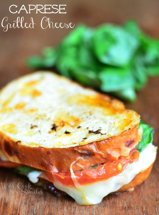 Caprese Grilled Cheese from willcookforsmils.com for wineandglue.com