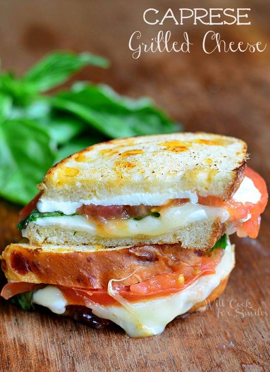 Caprese Grilled Cheese 2 from willcookforsmiles.com for wineandglue.com
