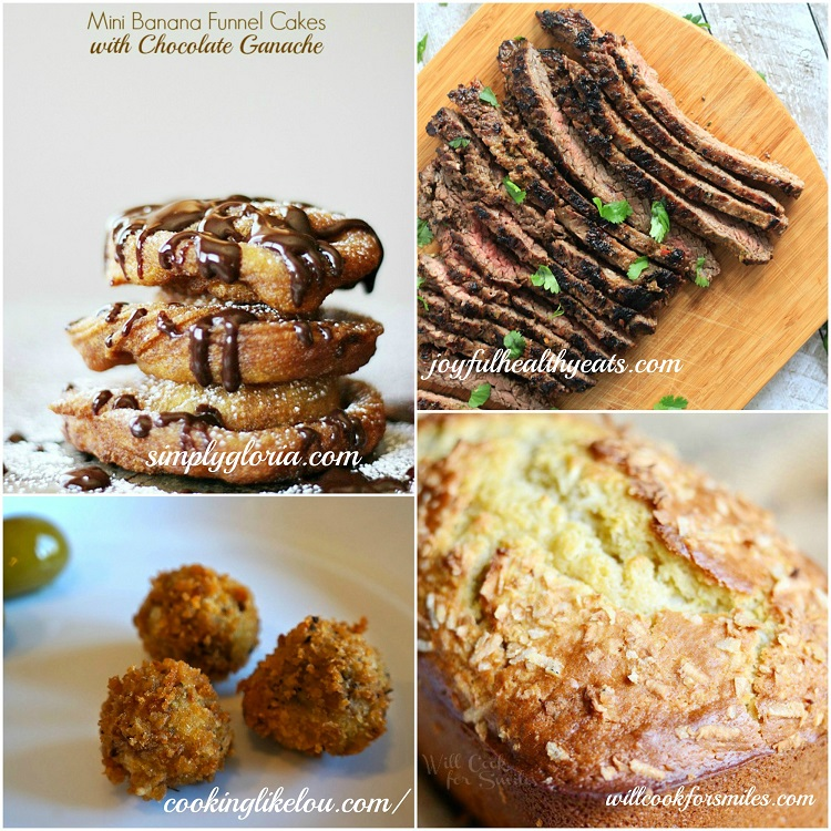 Host Featured Posts Mini Banana Funnel Cakes, Grilled Fajita Skirt Steak, sausage & olive poppers, Coconut Key Lime Bread