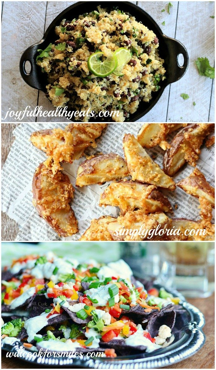 Host Features Cilantro Lime Quinoa with Black Beans, Crispy Cheddar Baked Fries, Cool Veggie Lime Nachos with Skinny Cucumber Dressing