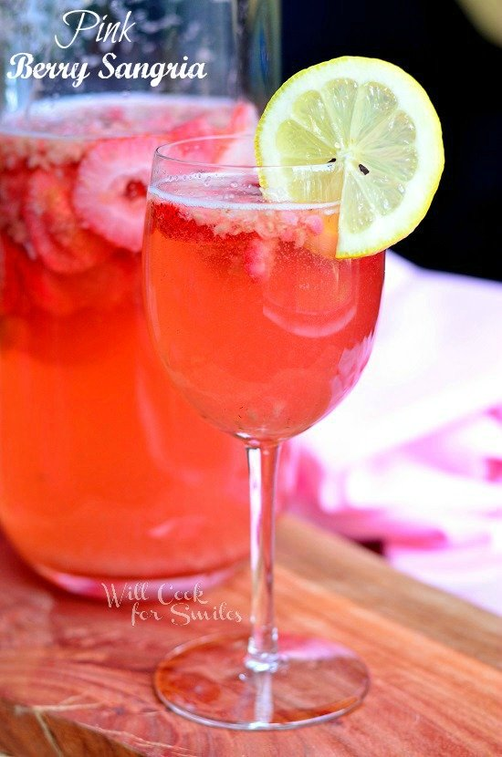 Pink Berry Sangria  from willcookforsmiles.com #sangria #strawberry #mothersday
