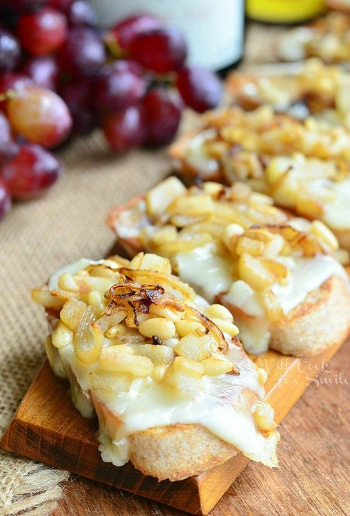 President's Cheese Crostini wtih Brie Caramelized Onion Pear and Pine Nuts 1 from willcookforsmiles.com #crostini #brie