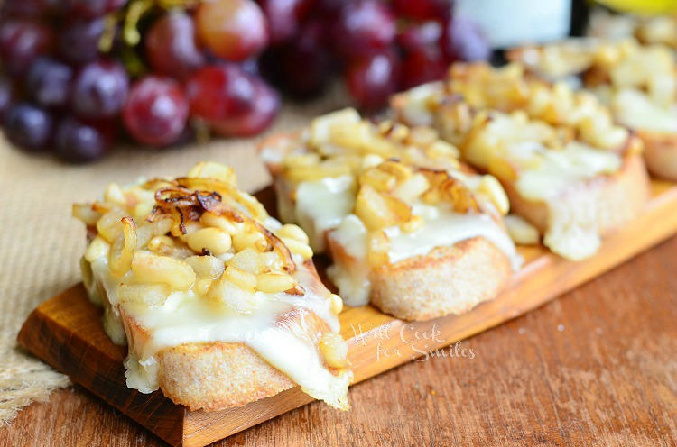 President's Cheese Crostini wtih Brie Caramelized Onion Pear and Pine Nuts 2 from willcookforsmiles.com #crostini #brie