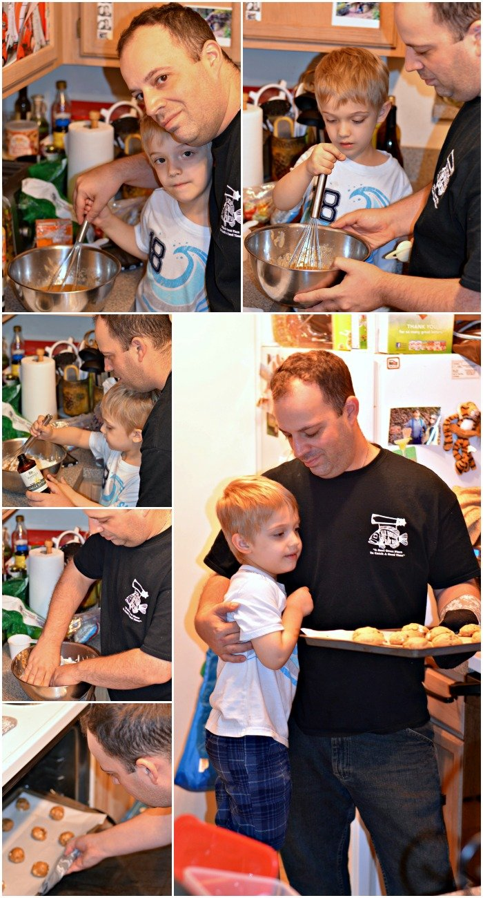 My son and husband baking cookies together.