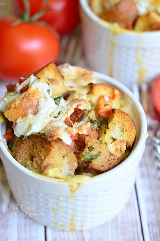 Savory Tomato Basil Bread Pudding | from willcookforsmiles.com #beadpudding #breakfast #brunch