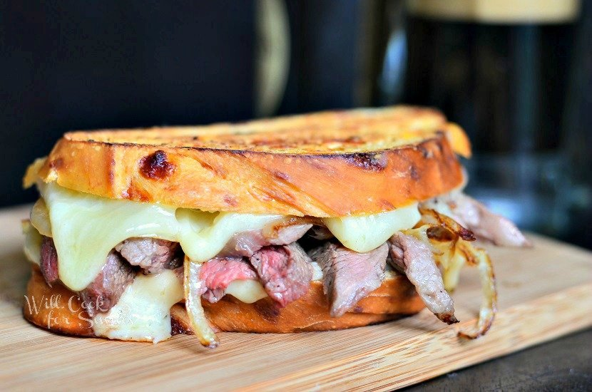 Steak and Onion Grilled Cheese 2 from willcookforsmiles.com #grilledcheese #steak #sandwich