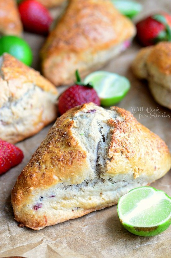 Strawberry Key Lime Scones | from willcookforsmiles.com #scones #strawberry #keylime