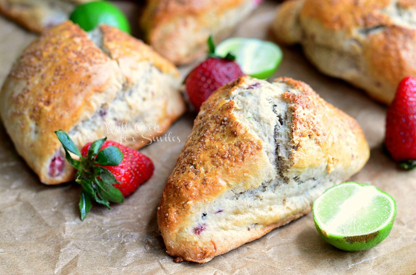 Strawberry Key Lime Scones 2 from willcookforsmiles.com #scones #strawberry #keylime