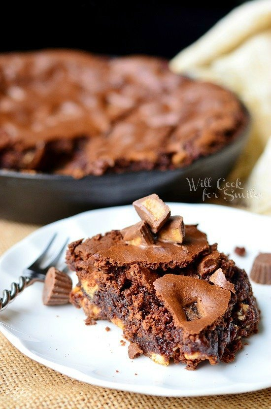 Ultimate Peanut Butter Cup Skillet Brownies 2 from willcookforsmils.com #brownies #Reeses