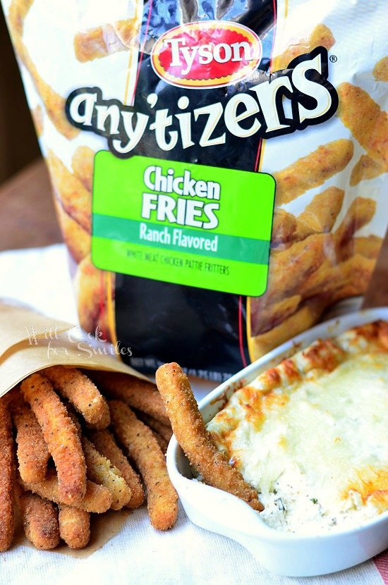Warm Cheesy Ranch Dip with Tyson Chicken Fries from willcookforsmiles.com #dip #ranch #mealstogether