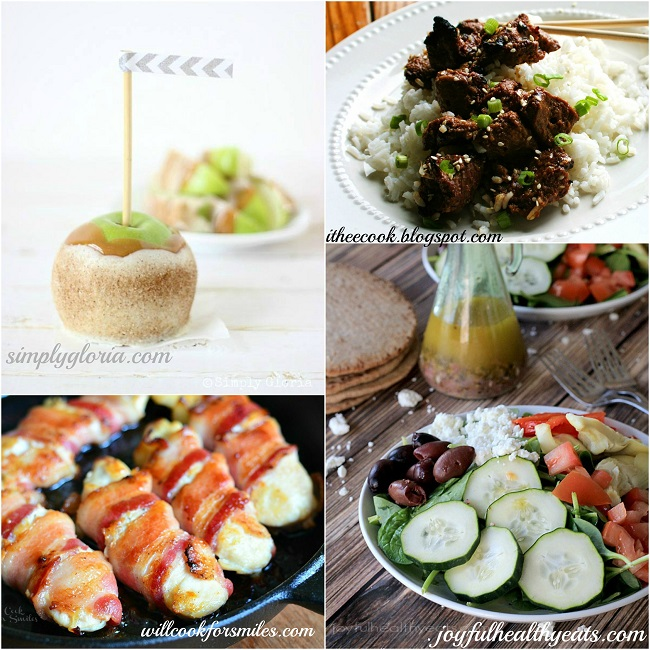 Host Featured Recipes Chai Sugared Caramel Apples, Grilled Korean Beef, Bacon Wrapped Chicken Strips, Mediterranean Salad with Homemade Greek Vinaigrette