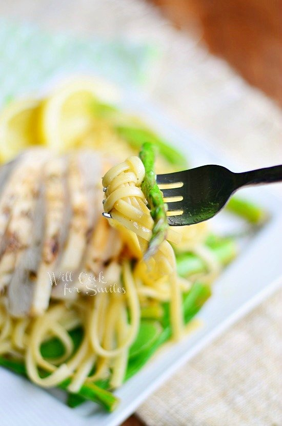 Lemon Herb Summer Linguine with Chicken, Asparagus and Snow Peas 2 willcookforsmiles.com