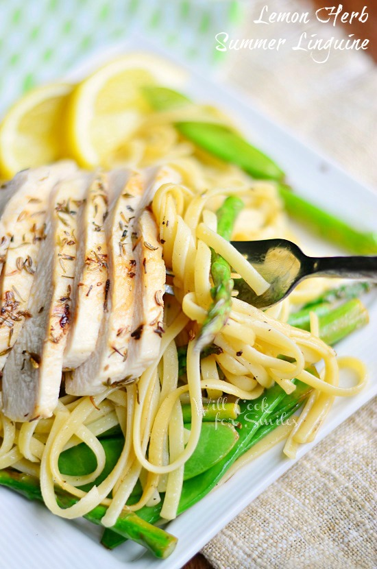 Lemon Herb Summer Linguine with Chicken, Asparagus and Snow Peas 3 willcookforsmiles.com