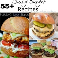3 picture collage of juicy burgers