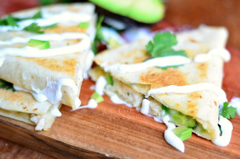 Avocado Chicken Quesadilla 4 from willcookforsmiles.com