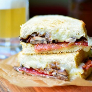 Bourbon Bacon Mushrom & Onion Grilled Cheese