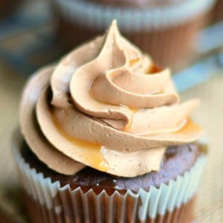 Bourbon Chocolate Cupcakes with Chocolate Buttercream Frosting and Bourbon Glaze
