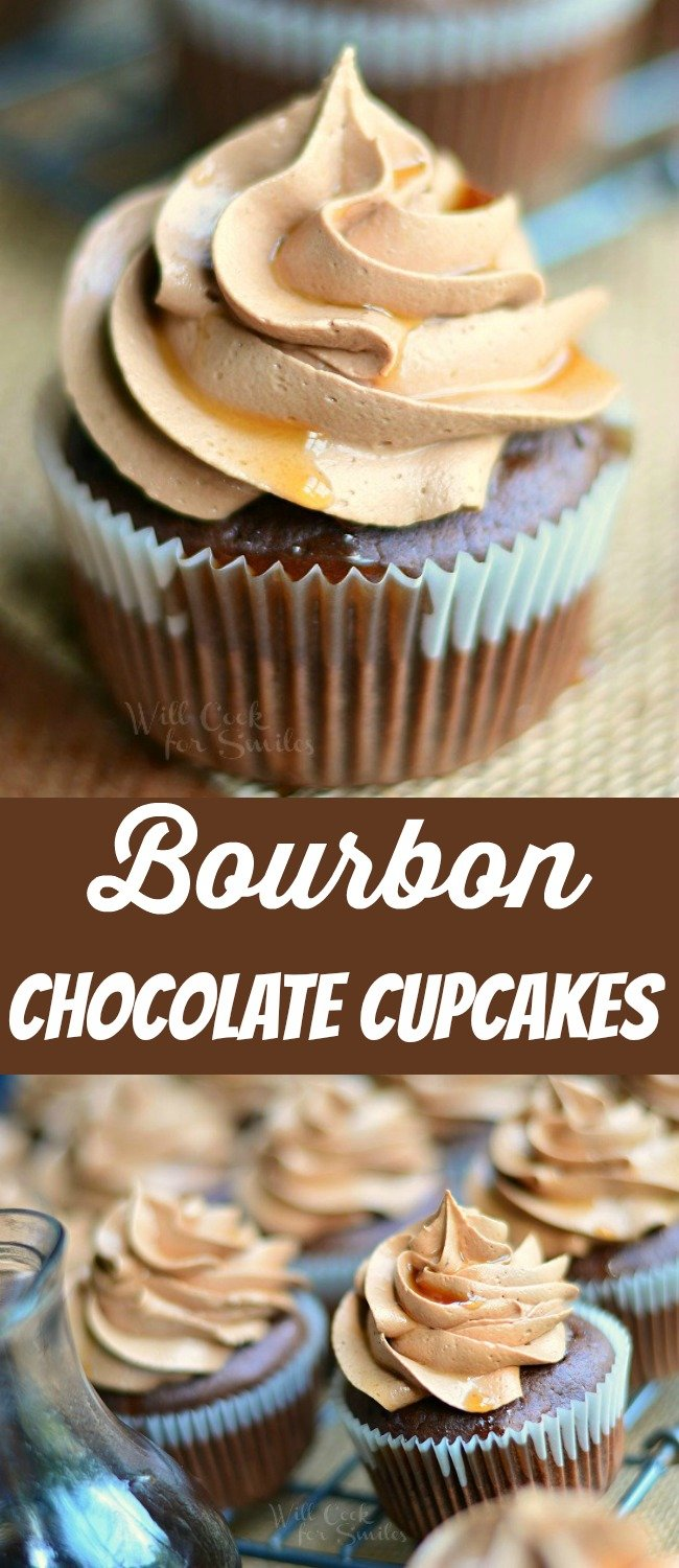 Bourbon Chocolate Cupcakes collage