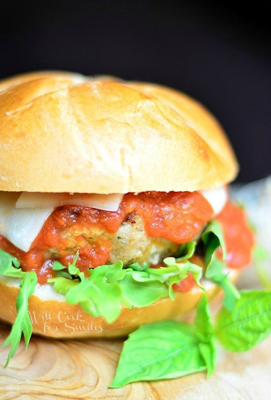 Chicken Parmesan Burger. Juicy chicken burger cooked with Italian ...