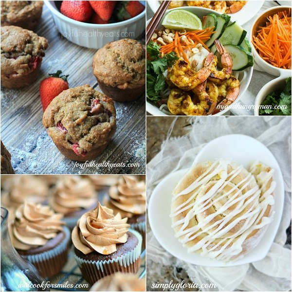 Host Recipe Features Whole Wheat Strawberry Banana Muffins, Bourbon Chocolate Cupcakes with Chocolate Buttercream Frosting and Bourbon Glaze, Vietnamese BBQ Shrimp Noodle Bowl, Sticky Lemon Sweet Rolls