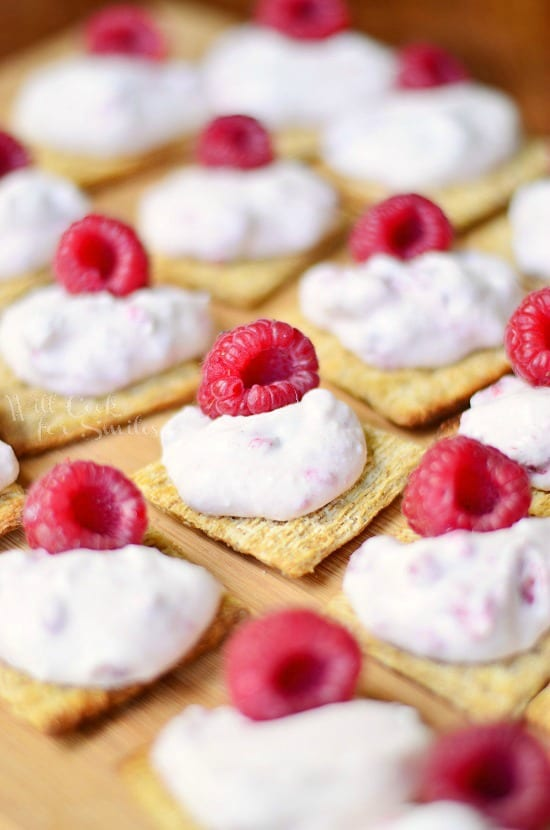 Raspberry Cannoli Cream Bites on Triscuit Crackers 2 from willcookforsmiles.com