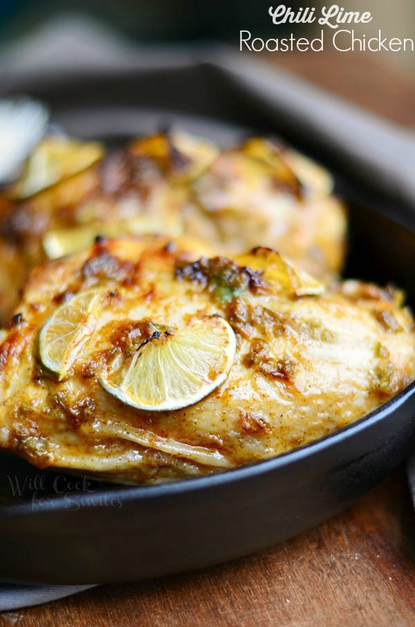 Chili Lime Roasted Chicken in a cast iron pan