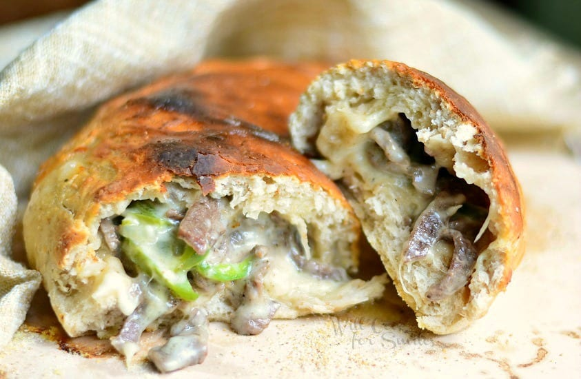 Easy Philly Cheese Steak Calzone 1 from willcookforsmiles.com