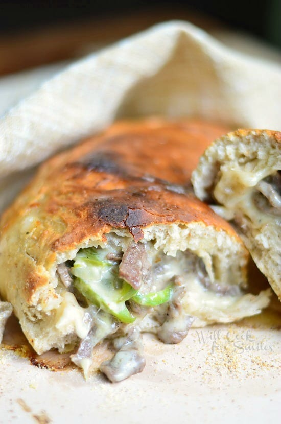Easy Philly Cheese Steak Calzone 2 from willcookforsmiles.com