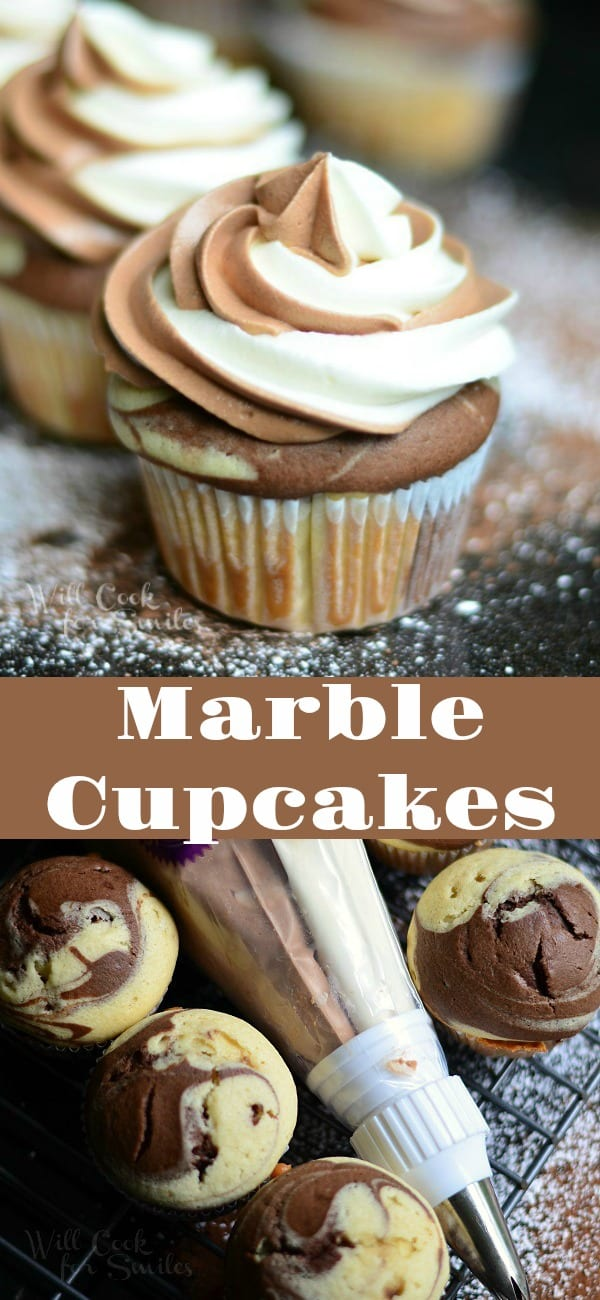 Marble Cupcakes is perfect combination of chocolate and vanilla in one cupcake. These cupcakes are topped with Marble Cream Cheese Frosting. #cupcakes #vanilla #chocolate #marble #dessert