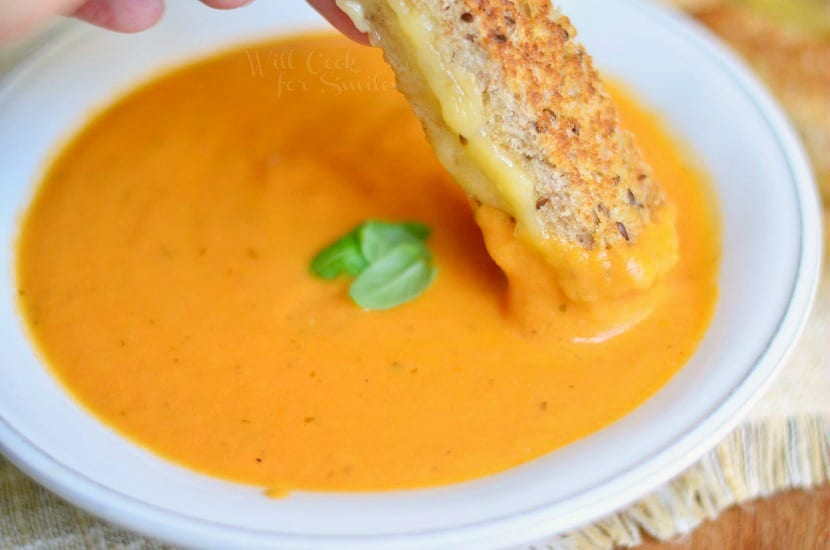 Tomato Bisque with Smoked Gouda Grilled Cheese Dippers 2 from willcookforsmiles.com