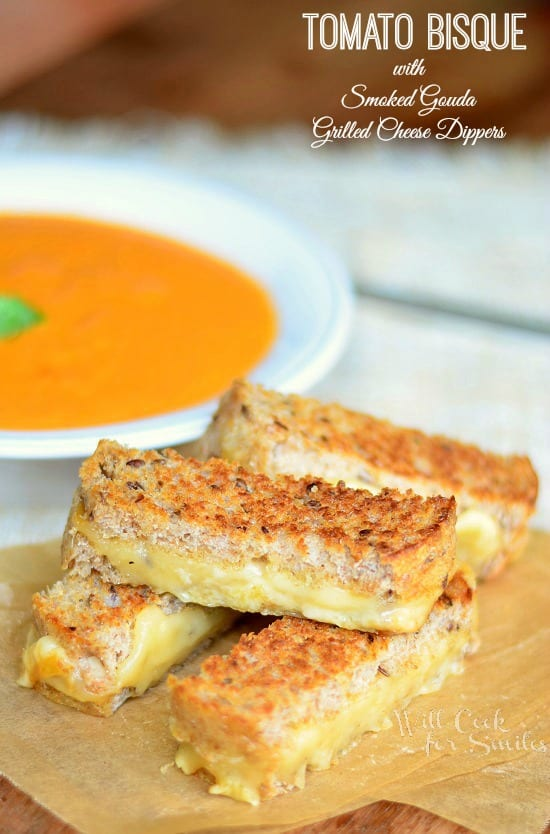 Tomato Bisque with Smoked Gouda Grilled Cheese Dippers from willcookforsmiles.com