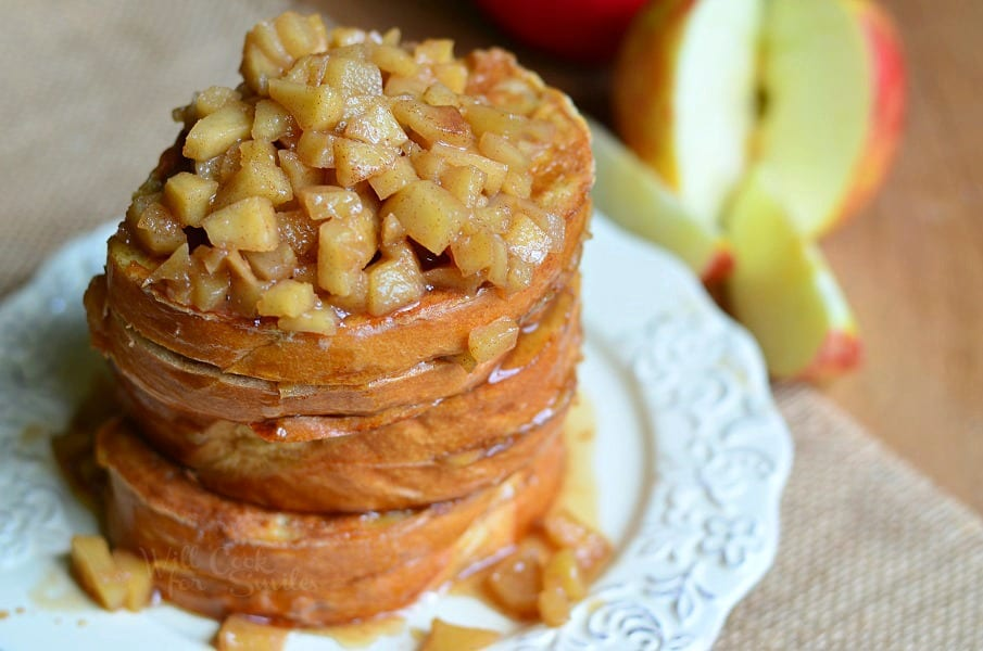 top view Apple Pie Stuffed French Toast stacked up on a plate