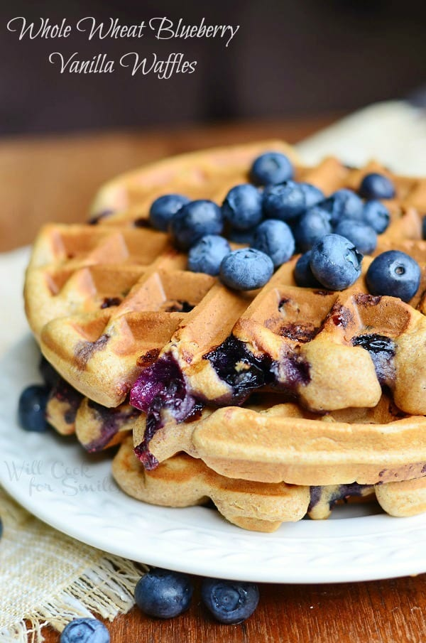 Whole Wheat Blueberry Vanilla Waffles 4 from willcookforsmiles.com