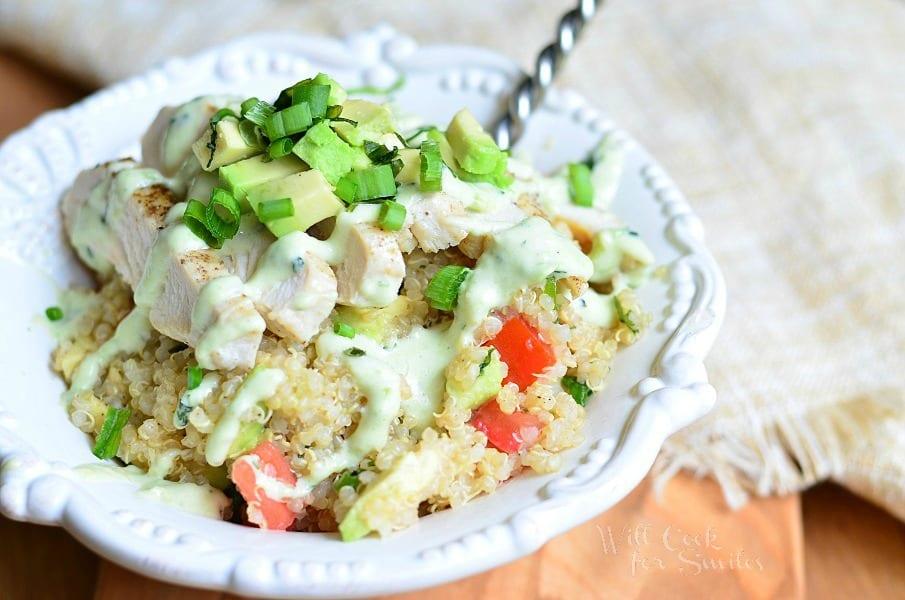 Avocado Ranch Chicken Quinoa Bowl 3 from willcookforsmiles.com