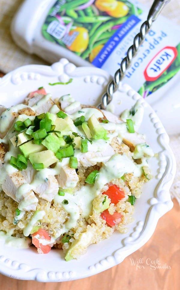 Avocado Ranch Chicken Quinoa Bowl from willcookforsmiles.com