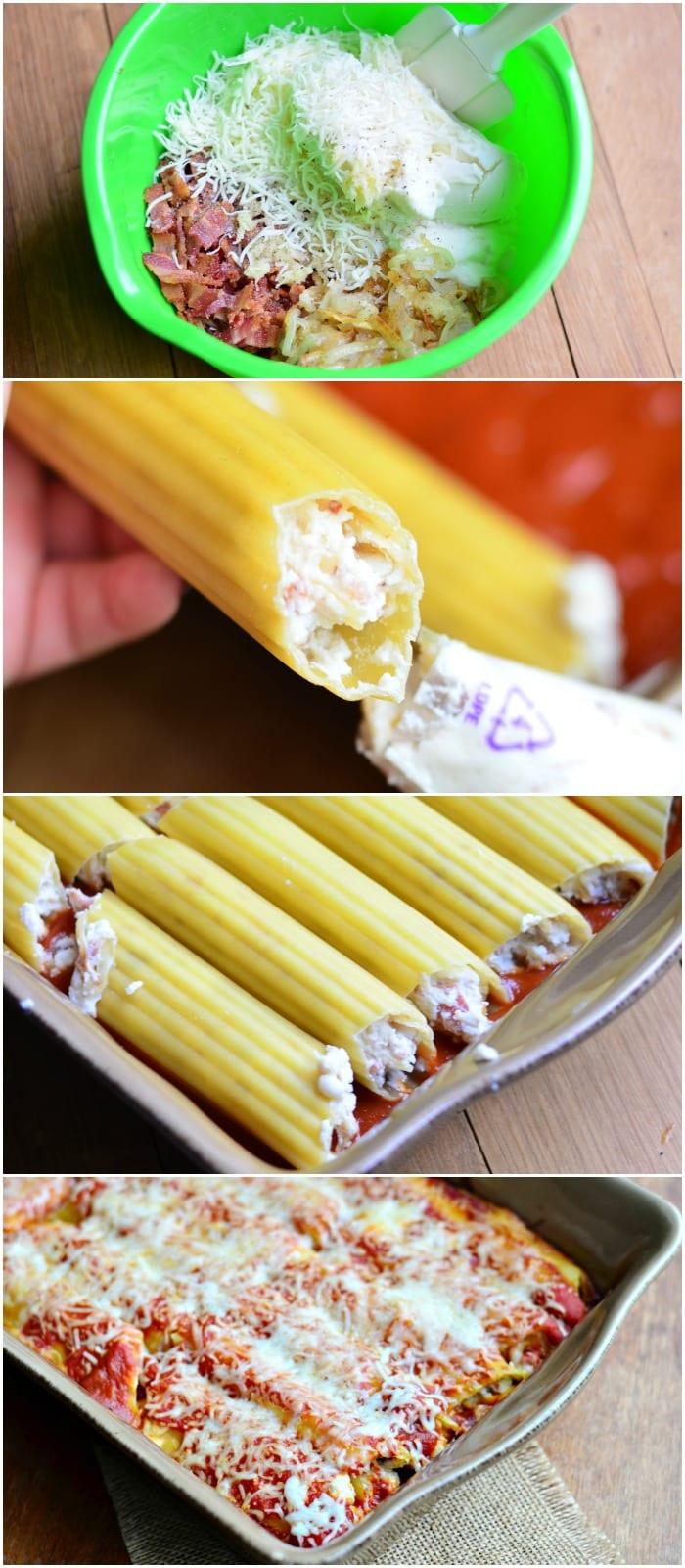 Bacon & Caramelized Onion Manicotti Process