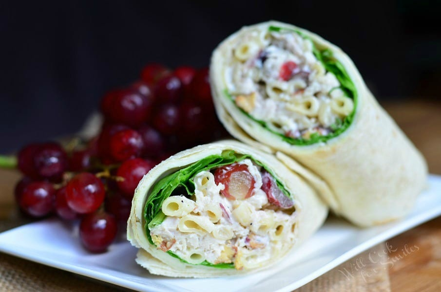 Chicken Deluxe Salad Wrap from willcookforsmiles.com #sandwich