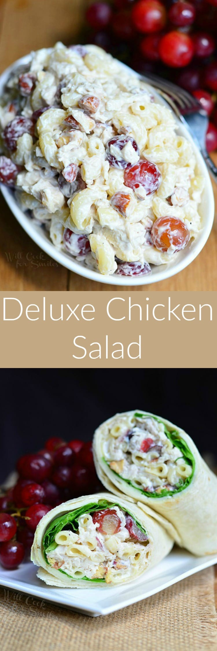 Deluxe Chicken Salad! Delicious Chicken Salad made with elbow macaroni, grapes and toasted almonds for that crunch we all love so much. #chickensalad #coldsalad #pastasalad