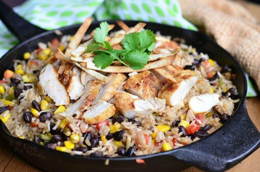 Chicken Tortilla Rice Skillet 2 from willcookforsmiles.com