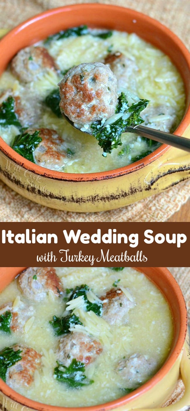 Italian Wedding Soup made with an addition of juicy turkey meatballs. Every bite of this soup is so satisfying and loaded with kale, meatballs, orzo pasta, and Parmesan cheese. #soup #italianwedding #meatballs #turkey #turkeymeatballs