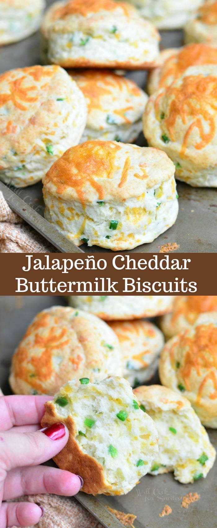 These Jalapeno Cheddar Buttermilk Biscuits are soft and fluffy with a great cheesy flavor and a zesty bite from jalapeno peppers. #bread #biscuits #jalapeno #cheesy #sidedish