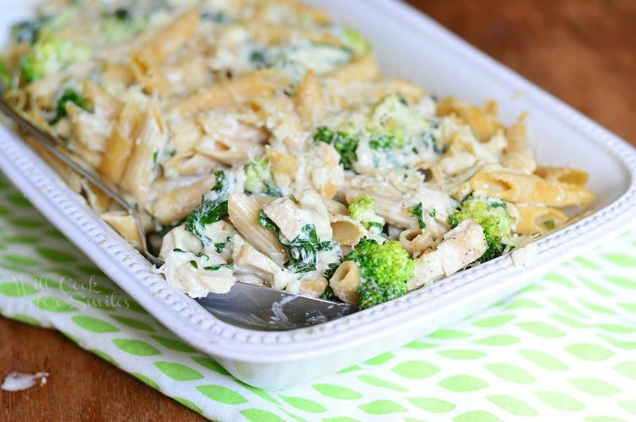 Lightened Spinach & Broccoli Chicken Alfredo Bake 2 from willcookforsmiles.com