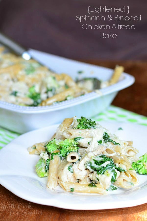 Lightened Spinach & Broccoli Chicken Alfredo Bake | from willcookforsmiles.com