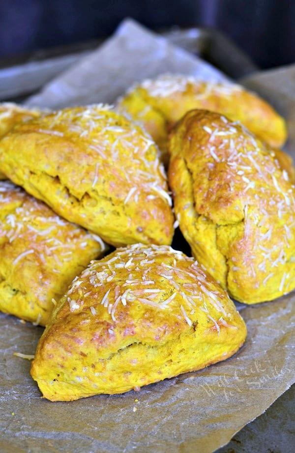 Savory Three Cheese Cream Cheese Pumkin Scones from willcookforsmiles.com